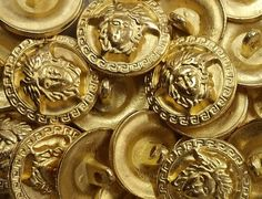 Vintage Versace Medusa Head Button with Square Scroll around the perimeter in Matte Gold sold by the dozen (12)