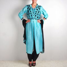 Blue and Black Chanderi Jacket-Trouser Set