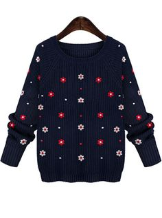 cute! Blue Round Neck Long Sleeve Embroidered Floral Knit Sweater 17.67