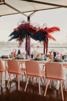bright pink floral installation over tablescape Table Setting Inspiration, Wedding Inspiration, Art Deco Wedding, Floral Wedding, Wedding Trends, Wedding Designs, Flower Cart, Colourful Balloons, Alternative Wedding