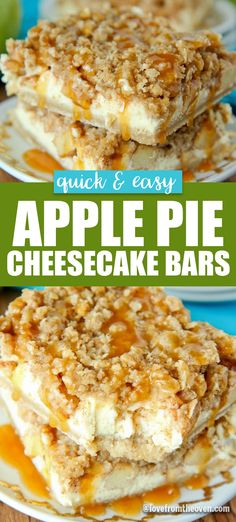 These apple pie cheesecake bars are absolutely incredible! Delicious crust, cheesecake layer and amazing apple pie crumb topping. Totally making these again. #cheesecake #bars #applepie #lftorecipes