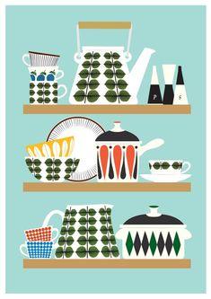 Scandinavian Kitchen print, Stig Lindberg Bersa, Mid Century Modern poster, Retro Kitchen art, Kitchen decor, cooking print, via Etsy.