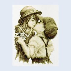 Kiss of Love - counted cross-stitch kit Vervaco Stitch Kit, Kiss, Cross Stitch, Teddy Bear, Animals, Babies, Cross Stitch Pictures, Dots, Punto De Cruz
