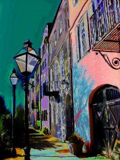 "Digital painting of Charleston's ""Rainbow Row"" - ©Everett White (via FineArtAmerica)"