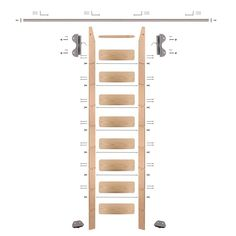 Conclude functionality to your library, closet, wine cellar with this Quiet Glide Red Oak Library Ladder Satin Nickel Hook Hardware Rail and Vertical Brackets. Storage Design, Wood Storage, Pantry Design, Wood Ladder, Ladder Decor, Rolling Ladder, Leaning Ladder, Library Ladder, Library Ideas