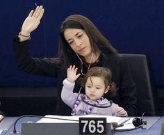 In pictures: MEP Licia Ronzulli's daughter Vittoria in Strasbourg parliament - Telegraph
