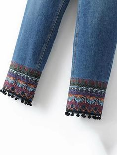 Sheinstreet Spring and Summer Embroidered Jean Pants Bottoms - Jeans Denim Fashion, Fashion Pants, Jeans Refashion, Embroidered Clothes, Diy Embroidered Jeans, Vetement Fashion, Embellished Jeans, Bell Bottom Pants, Denim And Lace