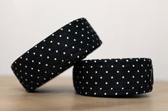 Black Polka Dot Bike Tape. A new hybrid of handlebar wrap. Cotton wrapped and industrially sewn onto premium gel cork.   A different way to double wrap your bars!