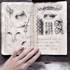"Moscow-based illustrator Elena Limkina fills the pages of her sketchbooks with detailed Baroque-inspired drawings of architectural elements, anatomical studies, and flowing calligraphy. She refers to the books as her ""artist's diary"" and indeed each page is practically an artwork unto itself. Limkin"