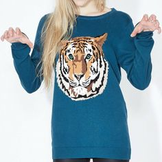 Tiger Sweater - An exclusive design from the Sugarhill Studio. A playful sweater can really perk up grey Winter days, this detailed Tiger Intarsia Sweater in rich teal looks gorgeous paired with otherwise plain, black jeans and boots. Jeans And Boots, Black Jeans, Plain Black, Winter Day, Looking Gorgeous, Teal, Studio, Grey, Sweaters