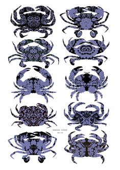 Damask Crabs Crabs, Damask, Original Artwork, Rooster, Art Prints, Wall Art, Unique Jewelry, Handmade Gifts, Animals