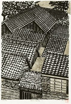 'Taro's house', woodblock print by Richard Steiner