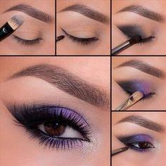 20 Simple Purple Smokey Eye Makeup Tutorial (With Pictures) . - 20 simple purple smokey eye makeup tutorial (with pictures) … – 20 Simple - Eye Makeup Pictures, Eye Makeup Tips, Eyeshadow Makeup, Makeup Ideas, Makeup Pics, Purple Eyeshadow, Eyeshadow Palette, Colorful Eyeshadow, Makeup Brushes