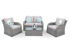 Nottingham High Back Wicker Rattan Garden Sofa Patio Furniture Set