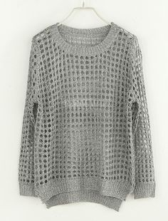 Hollow Round Neck Long-sleeved Sweater Silver $44 found at sheinside.com