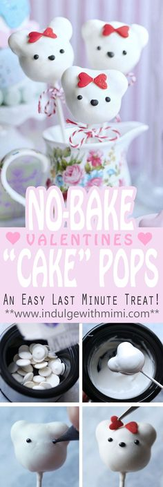 """EASY NO-BAKE Valentine's Day Bear """"Cake"""" Pops using 3 simple ingredients. Tips on using candy melts and tutorial for this perfectly adorable last-minute treat."""