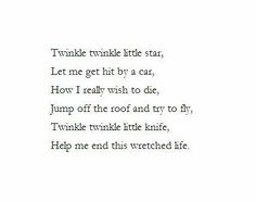 Help me end this wretched life little dagger° Depression poem °Depression Quote