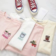 Buy online Milk Peach Embroidery on T-shirt Harajuku high quality fashion clothing store. discounts up to Free worldwide shipping. Return and exchange Grunge Outfits, Casual Outfits, Cute Outfits, Fashion Outfits, Fashion Women, Aesthetic T Shirts, Aesthetic Clothes, Ropa Color Pastel, Diy Embroidery Shirt