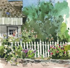 On line cours Sketching Landscapes in Pen, Ink & Watercolor with Shari Blaukopf at Maison Antoine Pilon Watercolor Scenery, Watercolor Sketchbook, Pen And Watercolor, Watercolor Landscape, Art Sketchbook, Watercolor Paintings, Watercolors, Pastel Landscape, House Drawing