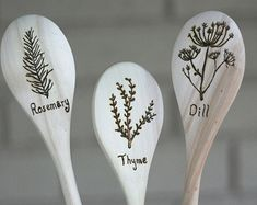 Dill, Rosemary and Thyme Herb Themed Woodburned Spoons - Set of Three Wooden Spoons - Kitchen Herbs, Gardening Gift, Housewarming Gift