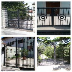 Driveway entry gates in wrought iron.
