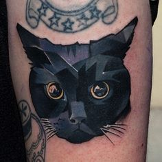 Small filler black cat by Matyas Halasz instagram csiga http://www.whoismatyashalasz.com resident artist in Dark Art Tattoo, Budapest