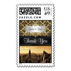 NYC Skyline Sepia B5 Damask Black Ribbon Thank You Postage Stamps