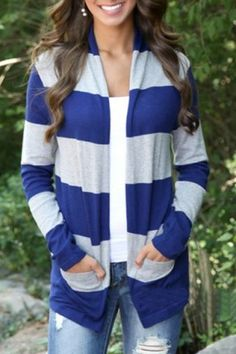 Stylish Broad Striped Long Sleeve Cardigan For Women Sweaters & Cardigans | RoseGal.com
