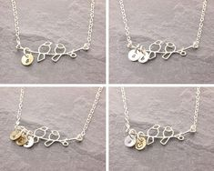 Sterling Silver Love Birds Necklace with 1-3 Kids'