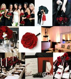 Black and red wedding inspiration board