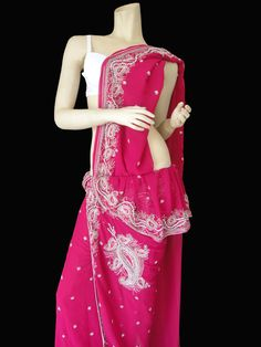 Pink Embroidered Faux Georgette Saree.  #dress #fashion #style #sarees #womenswear