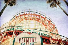 Amusement Park  Belmont Park San Diego Photography Giant Dipper Roller Coaster by AsqewCreative