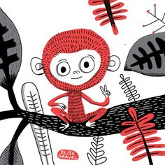 Black and red #monkey . #illustration #illustrationoftheday
