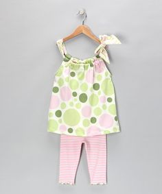 Take a look at this Pink Polka Dot Swing Top & Leggings - Toddler & Girls by Tutu & Lilli on #zulily today!