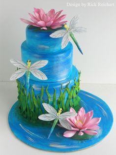Dragonflies and waterlilies wedding cake