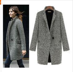 2014 ontwerp nieuwe lente/winter trenchcoat vrouwen grijs medium lange oversized warme wollen jas europese mode jas(China (Mainland))
