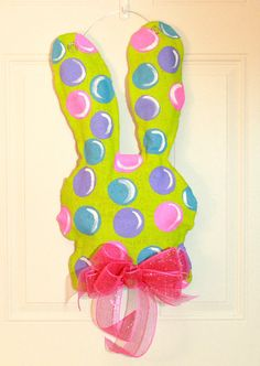 Easter Burlap Door Hanger Bunny Rabbit by MustLoveArtStudio, $35.00
