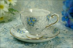 Beautiful White and Blue Floral Chintz by HappyGalsVintage on Etsy