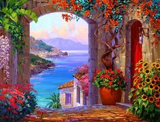 PHKV Oil Paintings Modern Seascape Seaside Garden Oil Painting By Numbers On Canvas Hand Painting Art Painting Acrylic Artwork. Garden Painting, Oil Painting On Canvas, Painting Art, Landscape Art, Landscape Paintings, Oil Paintings, Beautiful Paintings, Beautiful Scenery, Painting Inspiration