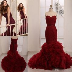 Colorful Wedding Dresses Leighton Meester Celebrity 2015 Plus Size Personalized Wine Red Burgundy Flouncing Organza Hot Mermaid Bridal Gowns Online with $153.98/Piece on Sarahbridal's Store | DHgate.com