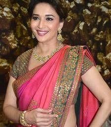 Buy Bollywood Replica Madhuri-Dixit Pink Satin Silky saree madhuri-dixit-saree online