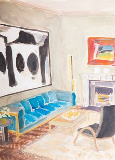 """#Savethedate One week until the opening of Lottie Cole's solo exhibition """"A Painting Within A Painting"""". Register your interest and view the exhibition catalogue via link in image.  ________ Lottie Cole Interior with Motherwell and Hodgkin Signed Watercolour on paper 14 1/8 x 10 1/4 in 36 x 26 cms (LC084)"""