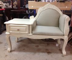 """DIY Shabby Chic Bench TableMy customer had this beat up reproduction bench/ table. I believe the style is called a """"telephone seat"""" but not sure. Anyway, she wanted to clean ..."""