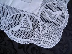 Antique Linen Tablecloth Wide Filet Crochet Lace Calla Lily c1900 | Antiques, Textiles, Linens, Linens | eBay!