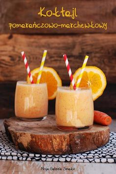 Vitamin C Booster Smoothie delicious and refreshing smoothie packed with Vitamin C! (in Polish with translator) Smoothie Packs, Smoothie Drinks, Smoothies, Brunch Recipes, Cocktail Recipes, Carrot Smoothie, Junk Food, Shake, Carrots