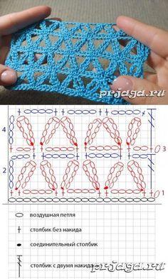 """Ажурный узор из цветочков крючком, видео """"pretty crochet stitch d iagram"""""""