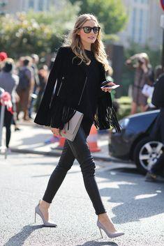 Street Style Olivia Palermo black everything Wachabuy Estilo Olivia Palermo, Olivia Palermo Style, Fashion Mode, Look Fashion, Fashion Trends, Cheap Fashion, Milan Fashion, Runway Fashion, Womens Fashion