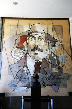 Retrato de Santos Dumont. Painel. Hughes Desmazières. Está localizado no terminal de desembarque, área pública, do Aeroporto Santos Dumont no Rio de Janeiro, RJ, Brasil.