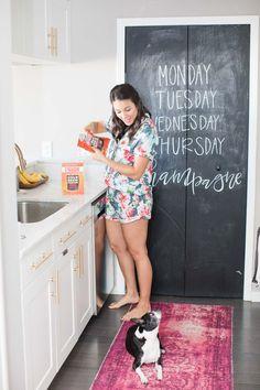 Cold brew coffee at home, white and brass kitchen, cute pajamas - My Style Vita @mystylevita