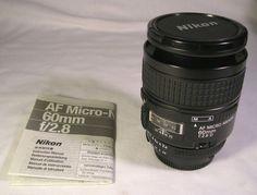 Mint Nikon AF Micro-Nikkor 60mm f/2.8 D Camera Lens W/ Instructions & Caps NR
